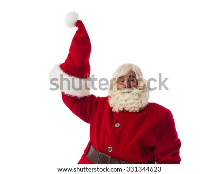 Santa Claus showing his red hat Closeup Portrait. Isolated on White Background - stock photo