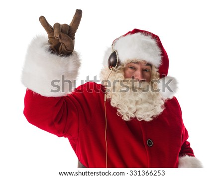 Santa Claus showing rock gesture and listening music Closeup Portrait. Isolated on White Background - stock photo