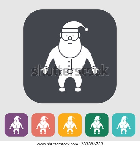 Santa Claus. Single flat icon on the button.  illustration. - stock photo