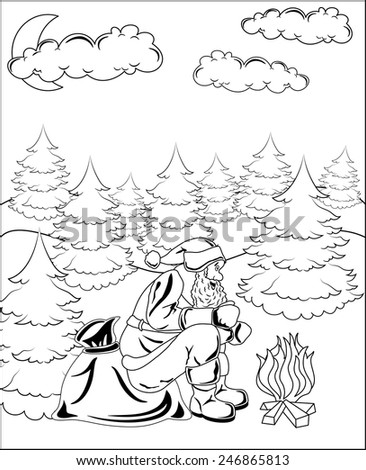 Santa Claus sitting by the fire in the winter forest - stock photo