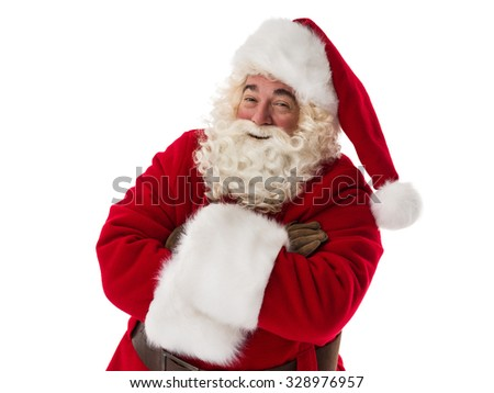 Santa Claus smiling with hands crossed Closeup Portrait - stock photo