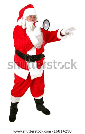 Santa Claus speaks though his Mega Phone to Get his Message of Christmas Cheer out to the world  isolated on white - stock photo