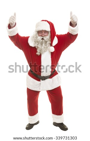 Santa Claus standing isolated on white background and thumbs up - full length portrait - stock photo
