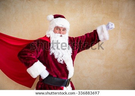 Santa Claus superhero. Christmas holiday concept - stock photo