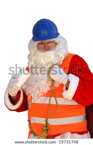 Santa Claus takes a coffee break and wears his Construction Clothes and Hard Hat isolated on white - stock photo
