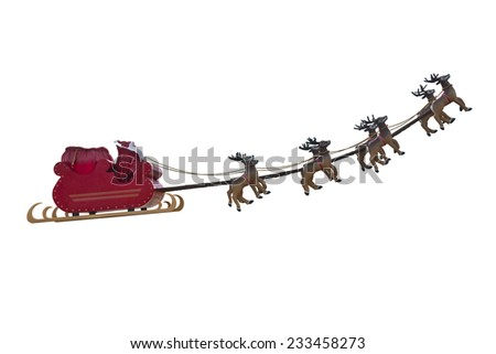 Santa Claus taking off his sleigh led by reindeers isolated on white background - stock photo