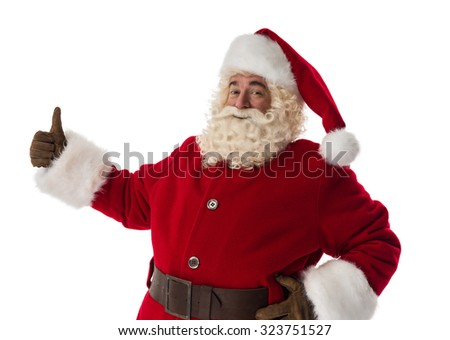 Santa Claus thumbs up Portrait Isolated on White Background - stock photo