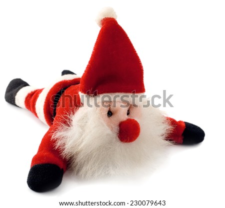 santa claus toy isolated on white background - stock photo