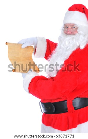 Santa Claus unrolling his naughty and nice list. Isolated on white in vertical format. - stock photo