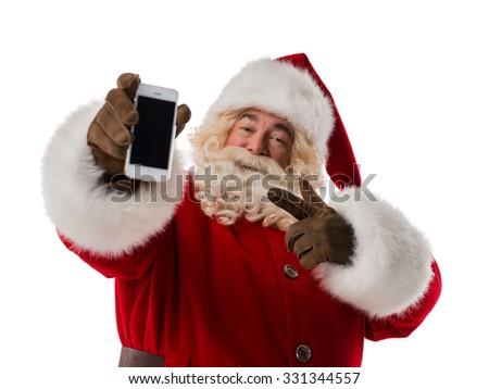 Santa Claus using mobile phone Closeup Portrait. Isolated on White Background - stock photo