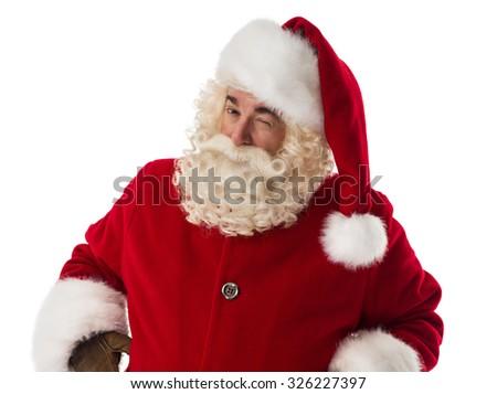 Santa Claus winking. Portrait Isolated on White Background - stock photo