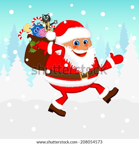 Santa Claus with a bag of gifts. Raster version  - stock photo