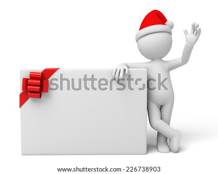Santa Claus with a empty board. Isolated white background. - stock photo