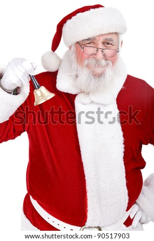 Santa Claus with bell and great smiling , isolated on white background - stock photo