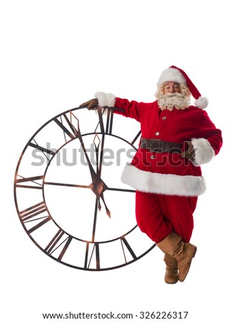 Santa Claus with big watches. Full Length Portrait Isolated on White Background - stock photo