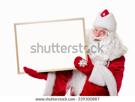 Santa Claus with big white board on white background. Isolated - stock photo