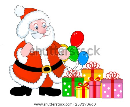 stock photo santa claus with christmas gifts drives in his
