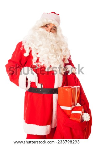 santa claus with credit card at his belt and sack of gifts in hand, isolated - stock photo
