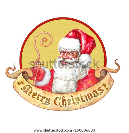 Santa Claus with golden wand sticker  - stock photo