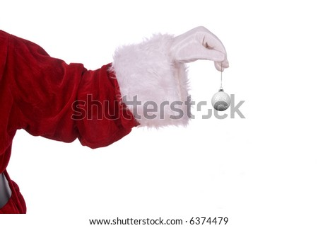 Santa Claus with golf ball ornament in his white gloved hand - stock photo