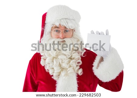 Santa claus with his glasses showing card on white background - stock photo