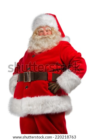 Santa Claus with his hands on his hips isolated on white background - stock photo