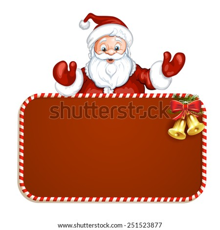 Santa Claus with red blank sign - stock photo