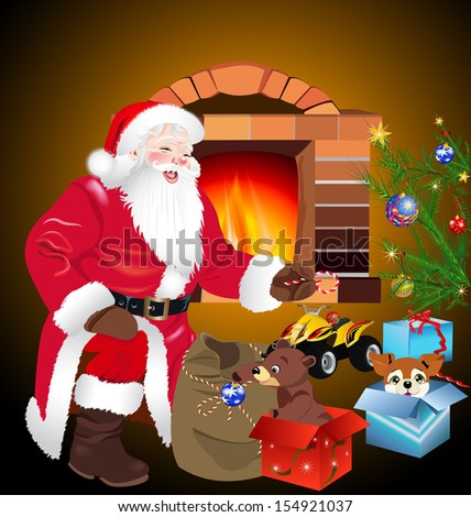 Santa Claus with sack of gift - stock photo