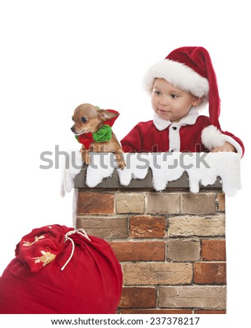 Santa Clause.  Adorable toddler dressed as Santa in a chimney holding chihuahua.  Isolated on white. - stock photo