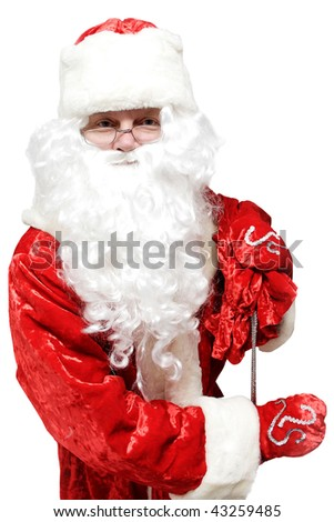Santa comes to visit us with gifts in a large bag. - stock photo