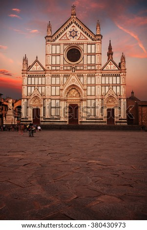 Santa Croce basilica (Basilica of the Holy Cross) in Florence, Italy, at sunset. - stock photo