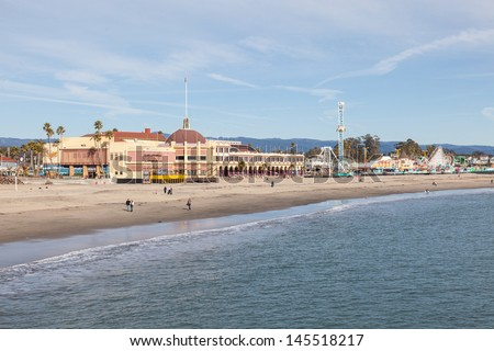 Santa Cruz Beach Boardwalk is an oceanfront amusement park in Santa Cruz, California. - stock photo
