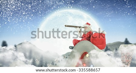 Santa delivery presents to village - stock photo