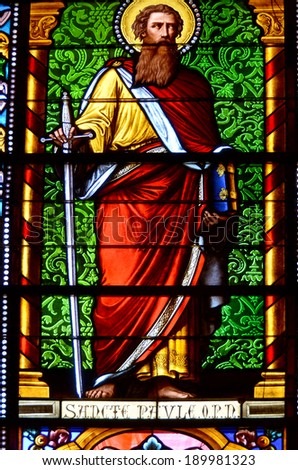 SANTA FE NEW MEXICO USA APRIL 23: Stained glass window in the Cathedral Basilica of Saint Francis of Assisi, built in 1886. On april 23 2014 in Santa fe New Mexico - stock photo