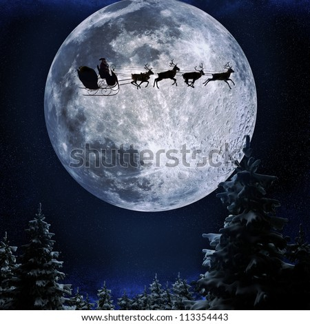 Santa flying in his sleigh against a full moon background with stars and Christmas tree's.Moon texture courtesy of www.nasa.gov - stock photo