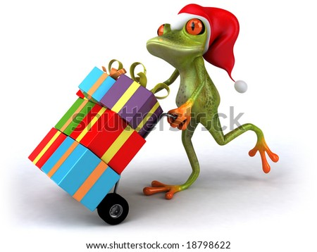 Santa frog - stock photo