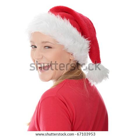 Santa Girl isolated on white - stock photo
