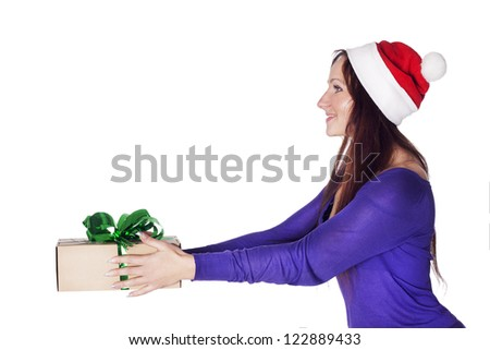 Santa girl with a present gift for New Year or Christmas - stock photo