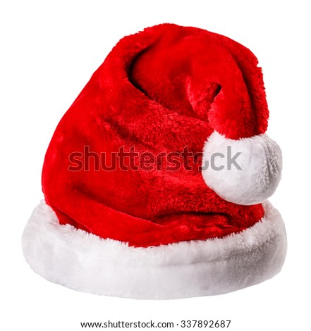 santa hat Isolated on white background Clipping Path - stock photo