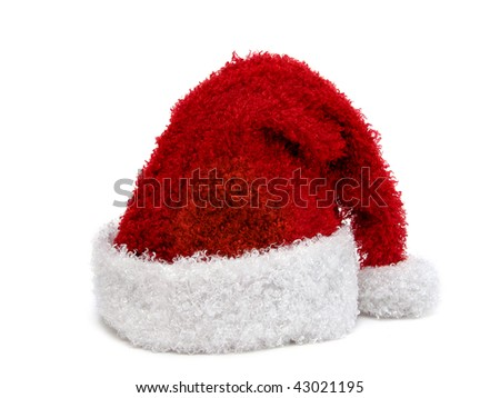 Santa hat on white background - stock photo