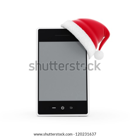 santa hat phone on a white background - stock photo