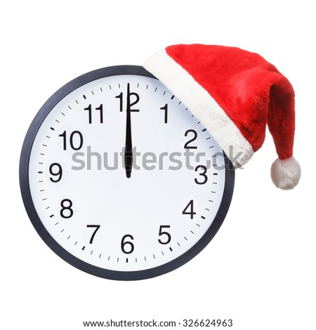 Santa hat with Christmas clock showing twelve o'clock isolated on a white background - stock photo