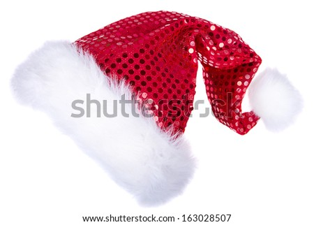 Santa hats with glitter isolated on a white background  - stock photo