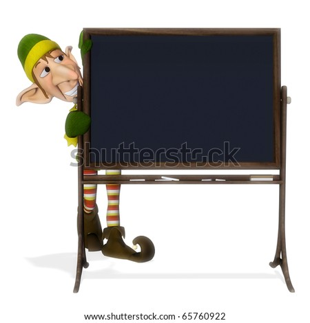 santa helper blackboard - stock photo
