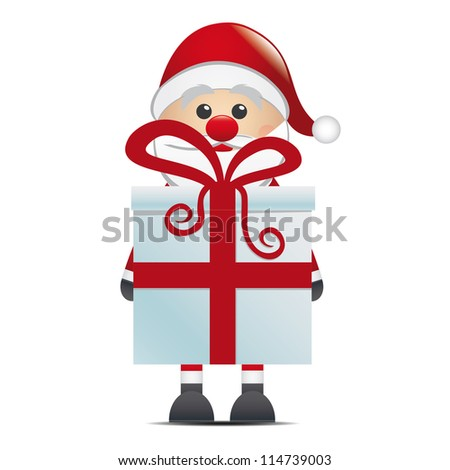 santa hold gift box with red ribbon - stock photo