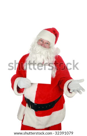 "santa holds a blank sign  ""isolated on white"" with room for your text - stock photo"