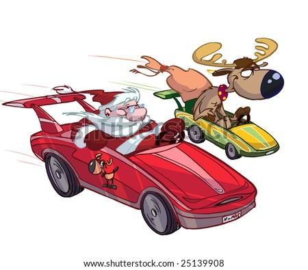 santa in  sportcar - stock photo