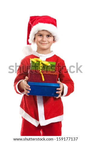 Santa is holding a christmas gift isolated on white background - stock photo