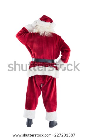 Santa is scratching his Head on white background - stock photo