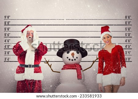 Santa is shocked to camera against mug shot background - stock photo